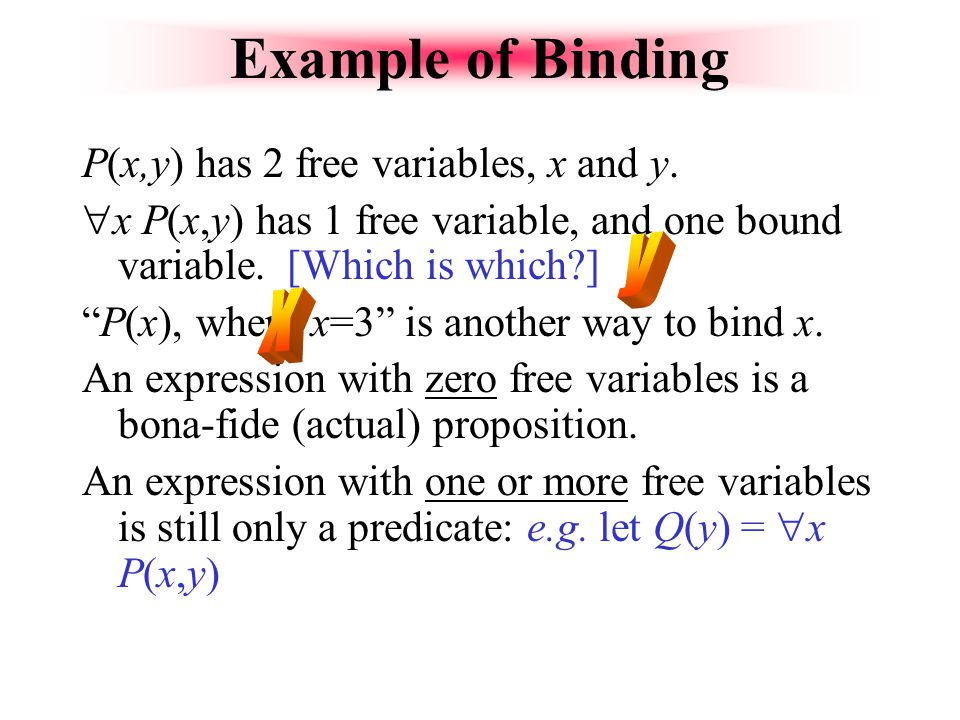 Example of Binding y x P(x,y) has 2 free variables, x and y.
