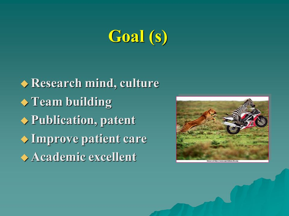 Goal (s) Research mind, culture Team building Publication, patent