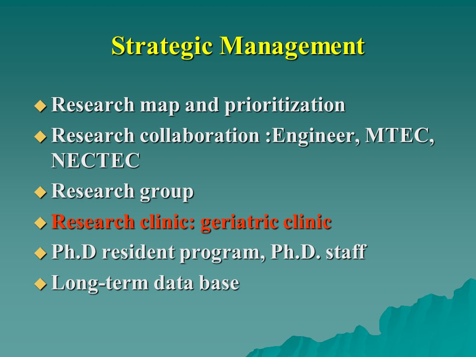 Strategic Management Research map and prioritization