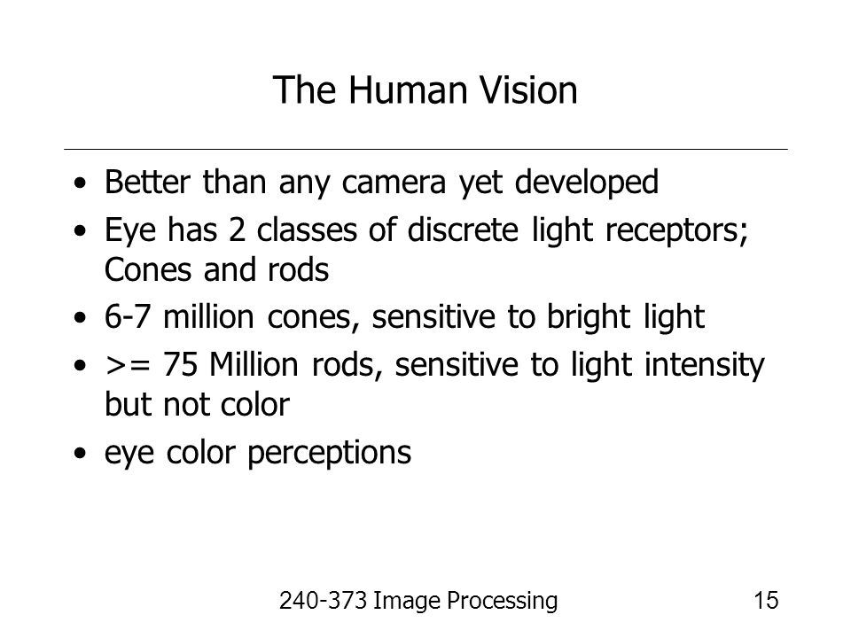 The Human Vision Better than any camera yet developed