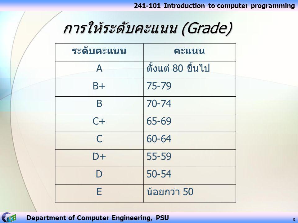 การให้ระดับคะแนน (Grade)