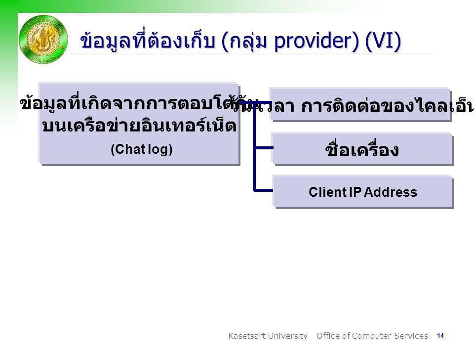 ข้อมูลที่ต้องเก็บ (กลุ่ม provider) (VI)