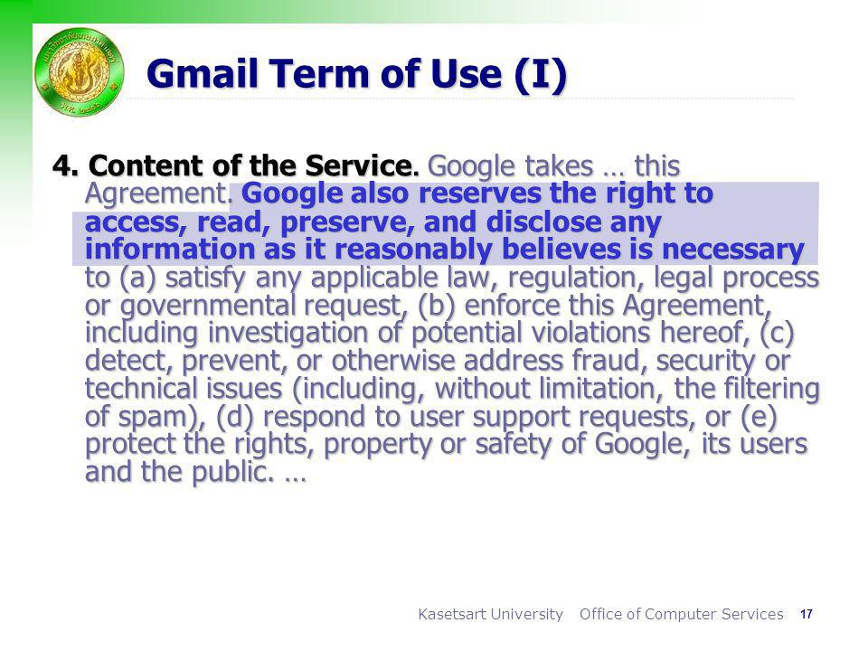 Gmail Term of Use (I)