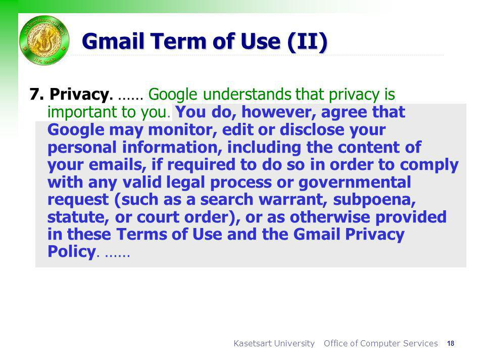 Gmail Term of Use (II)