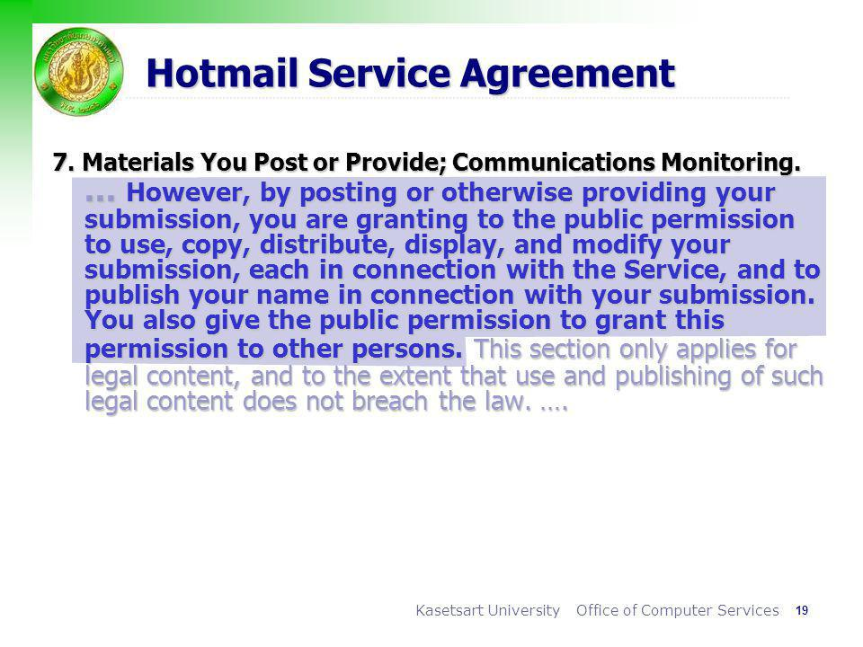 Hotmail Service Agreement