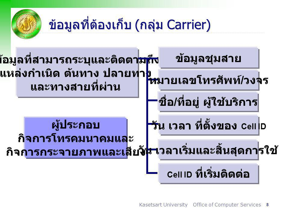 ข้อมูลที่ต้องเก็บ (กลุ่ม Carrier)