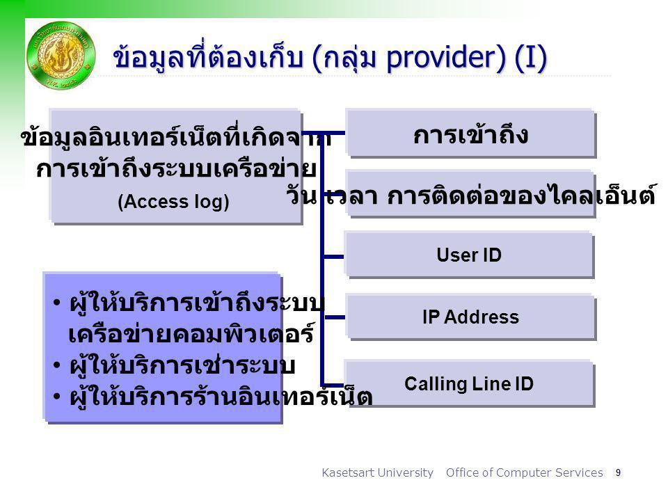 ข้อมูลที่ต้องเก็บ (กลุ่ม provider) (I)