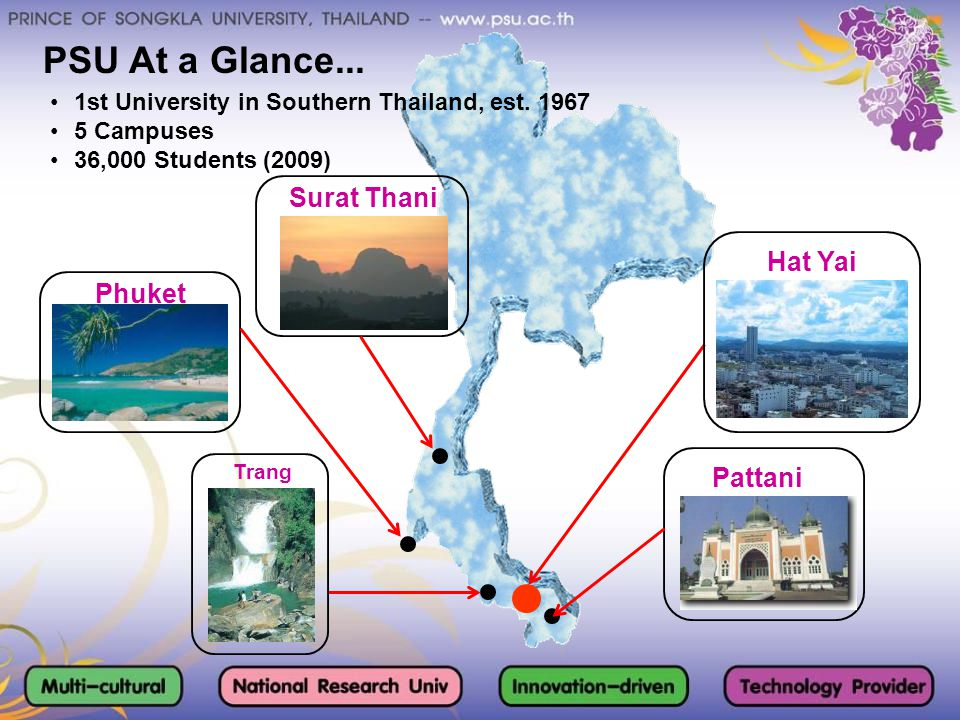 PSU At a Glance... Surat Thani Hat Yai Phuket Pattani