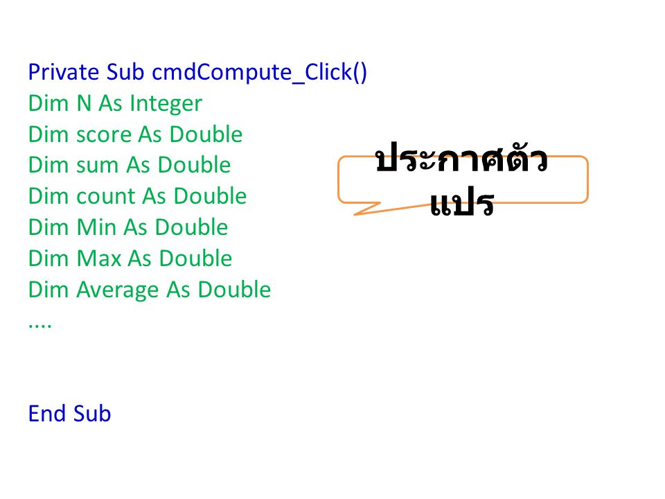 ประกาศตัวแปร Private Sub cmdCompute_Click() Dim N As Integer