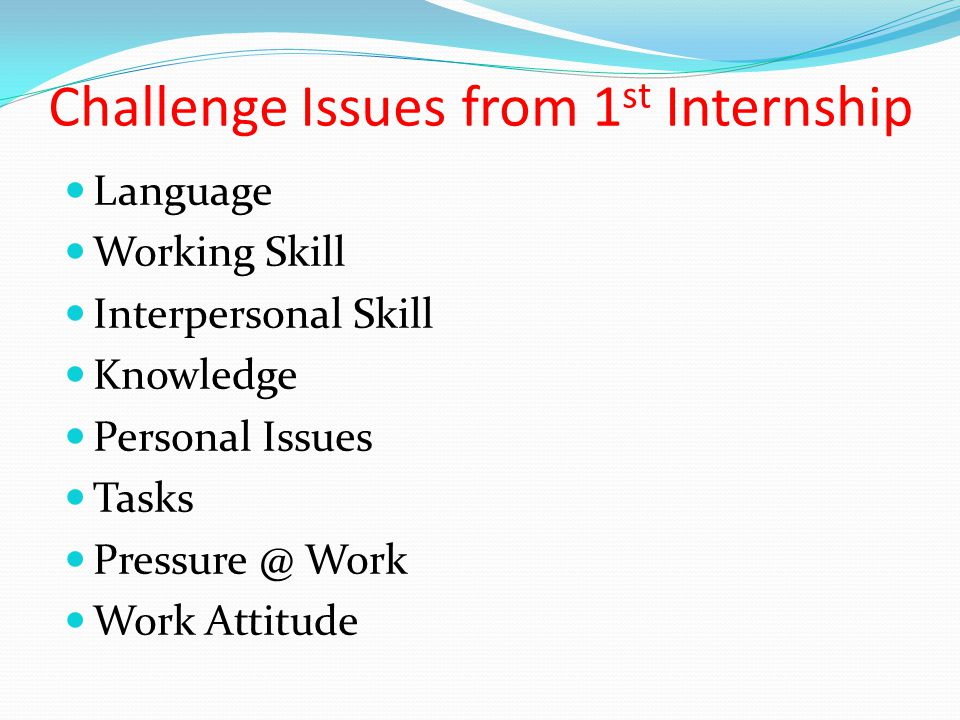 Challenge Issues from 1st Internship