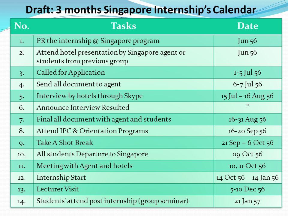 Draft: 3 months Singapore Internship's Calendar