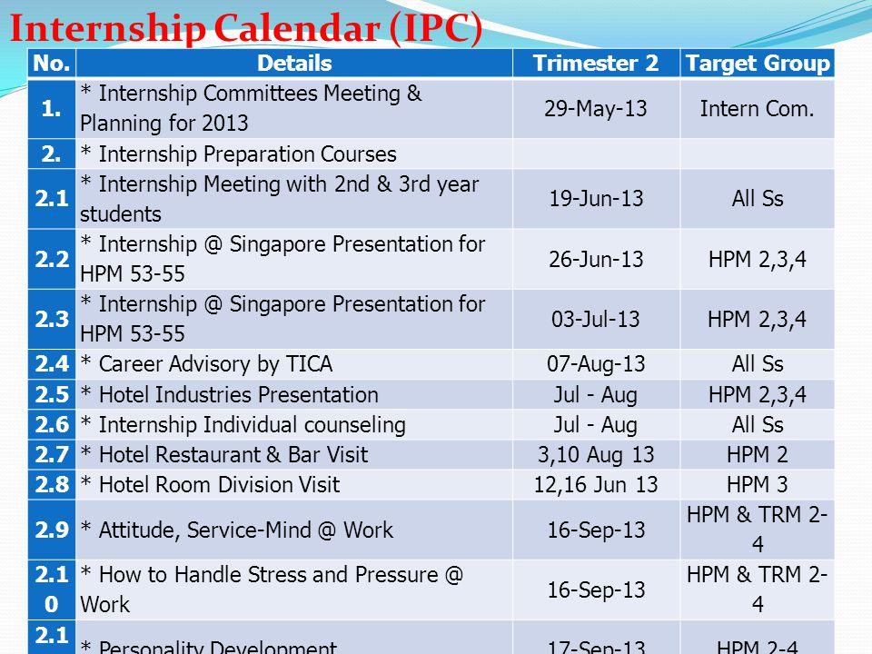 Internship Calendar (IPC)