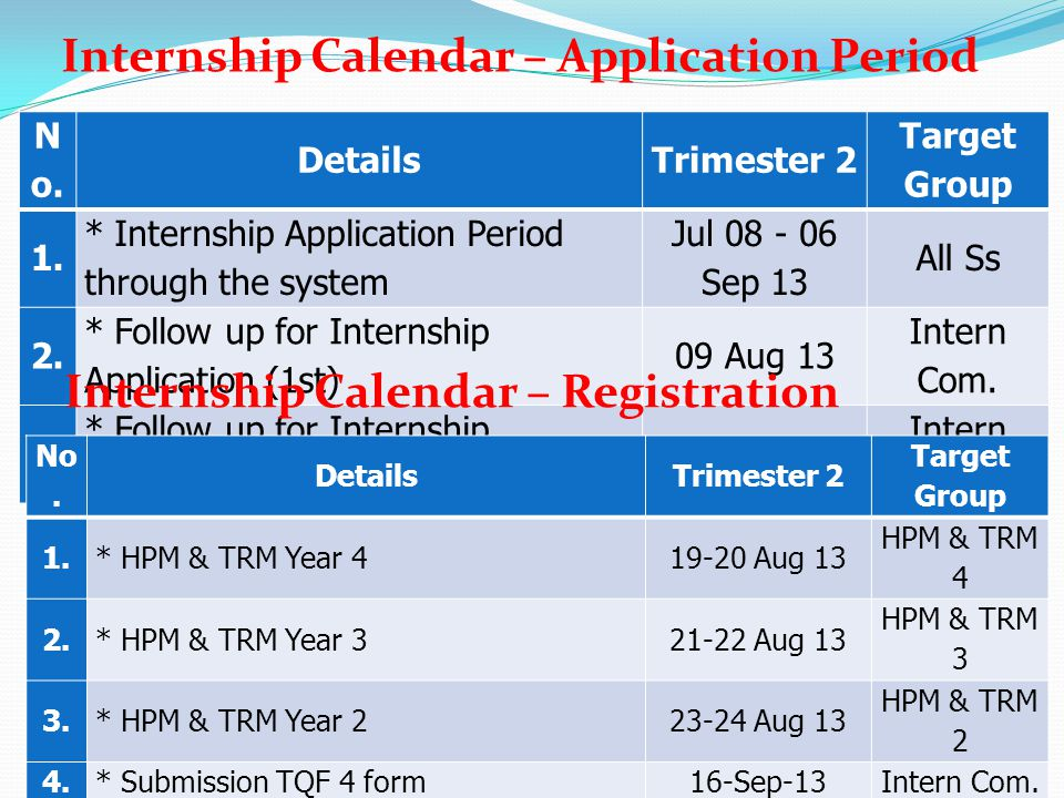 Internship Calendar – Registration
