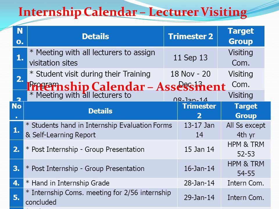 Internship Calendar – Lecturer Visiting