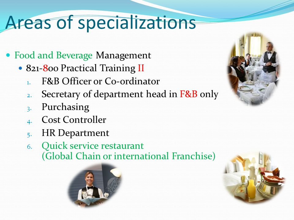 Areas of specializations