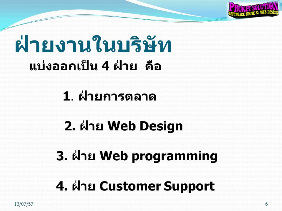 ฝ่ายงานในบริษัท แบ่งออกเป็น 4 ฝ่าย คือ 1. ฝ่ายการตลาด 2. ฝ่าย Web Design 3. ฝ่าย Web programming 4. ฝ่าย Customer Support
