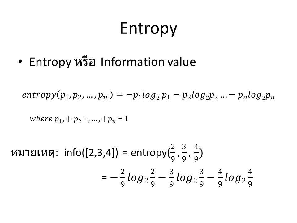 Entropy Entropy หรือ Information value