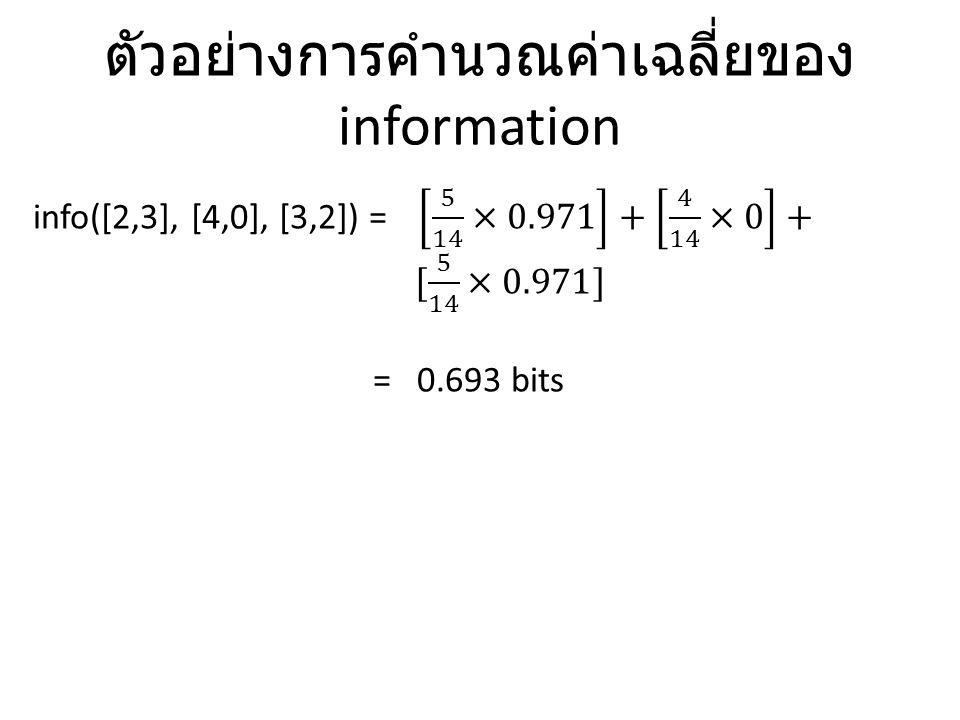 ตัวอย่างการคำนวณค่าเฉลี่ยของ information