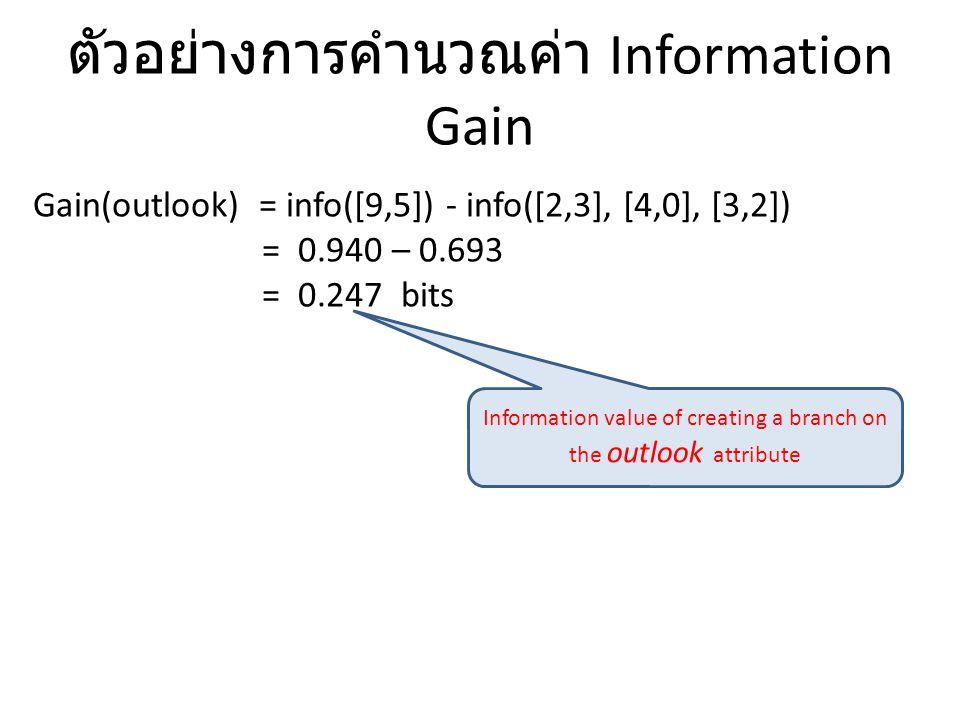 ตัวอย่างการคำนวณค่า Information Gain