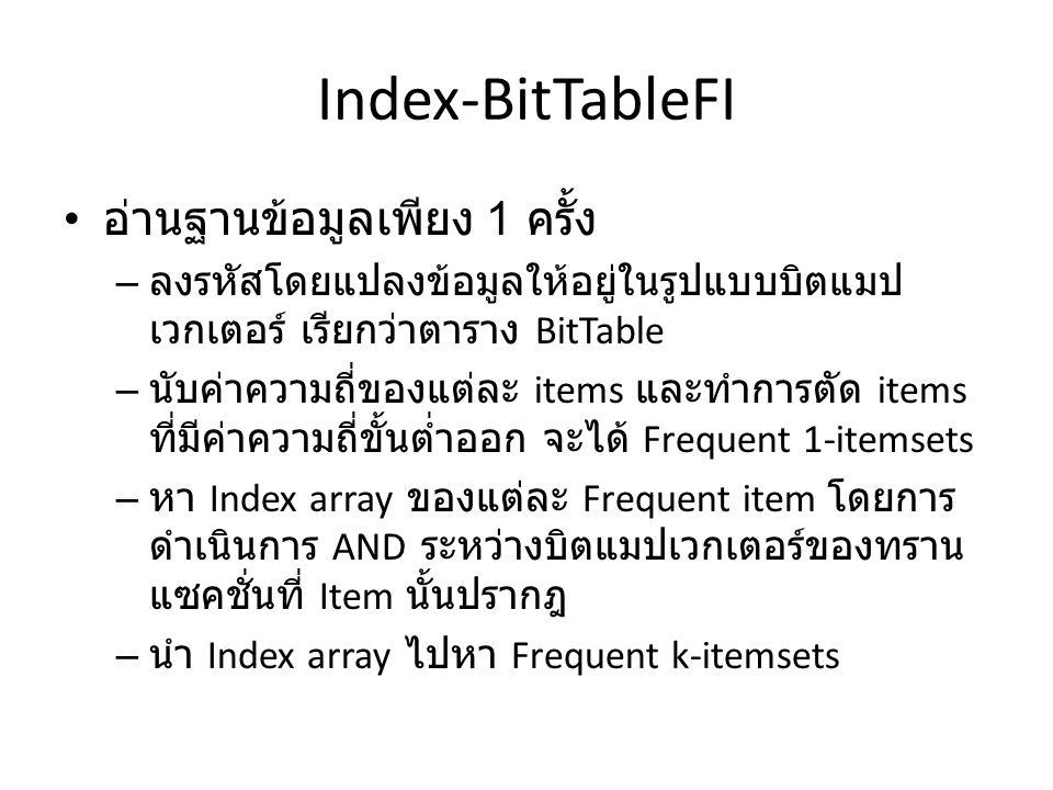 Index-BitTableFI อ่านฐานข้อมูลเพียง 1 ครั้ง