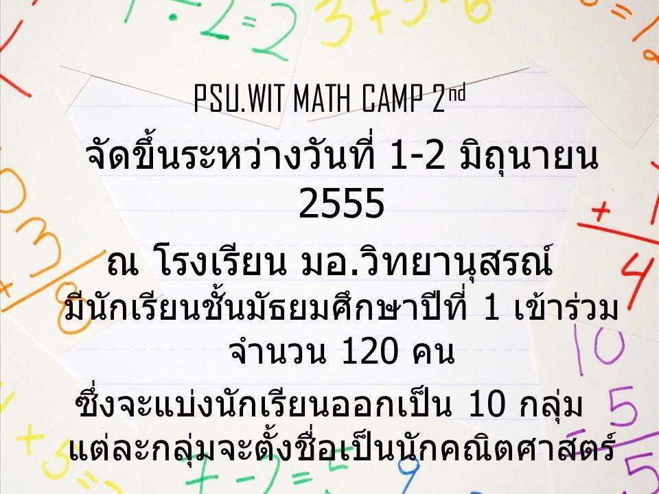 จัดขึ้นระหว่างวันที่ 1-2 มิถุนายน 2555