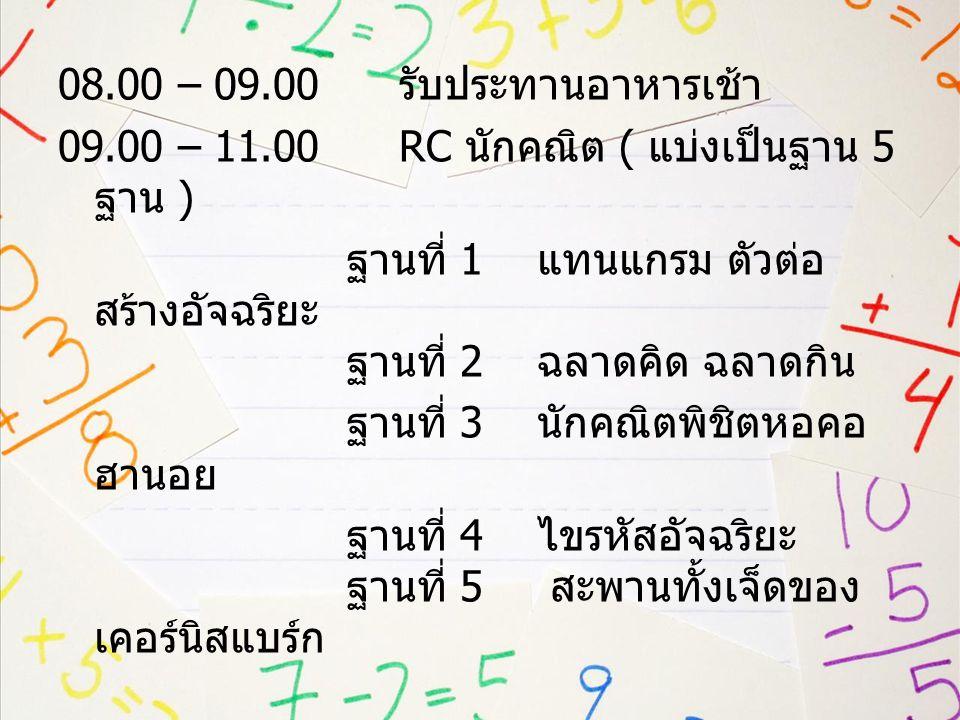 08. 00 – 09. 00 รับประทานอาหารเช้า 09. 00 – 11