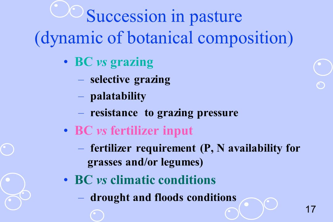 Succession in pasture (dynamic of botanical composition)