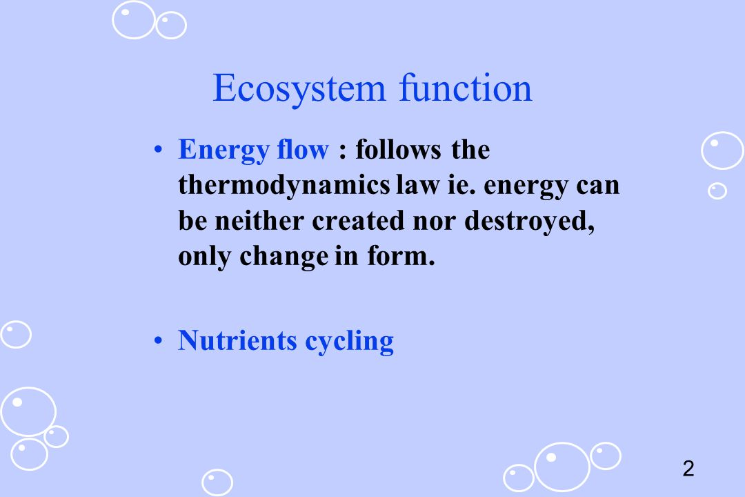 Ecosystem function Energy flow : follows the thermodynamics law ie. energy can be neither created nor destroyed, only change in form.