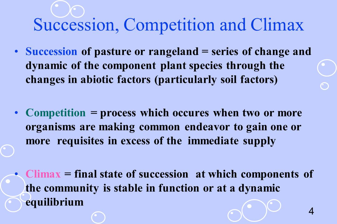 Succession, Competition and Climax