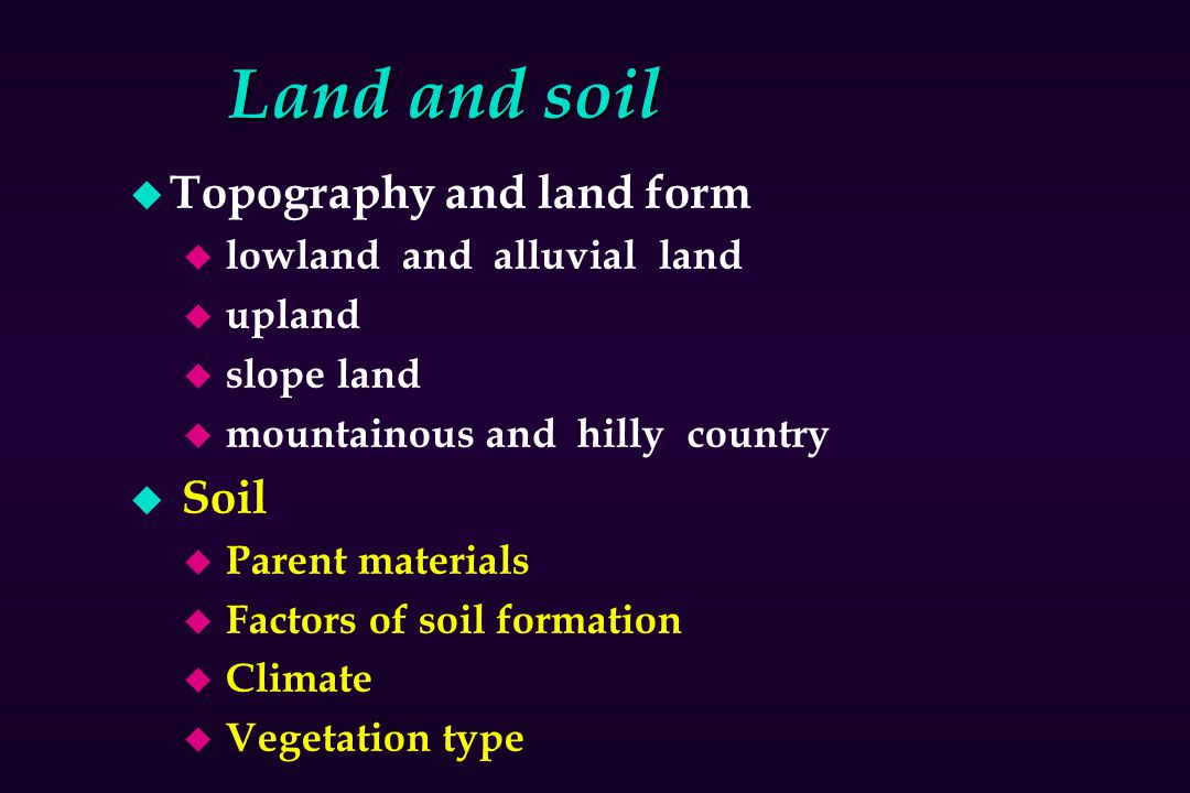 Land and soil Topography and land form Soil lowland and alluvial land
