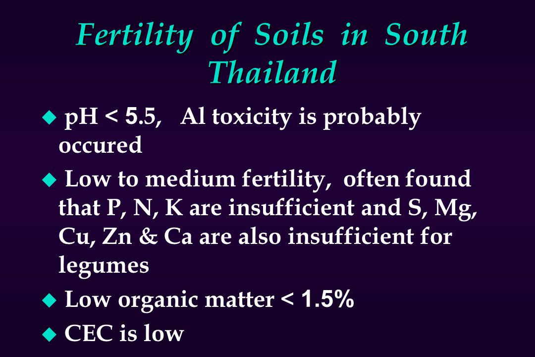 Fertility of Soils in South Thailand