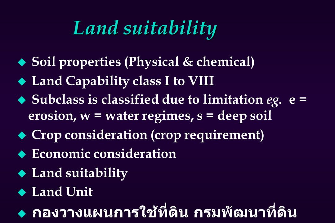 Land suitability Soil properties (Physical & chemical)