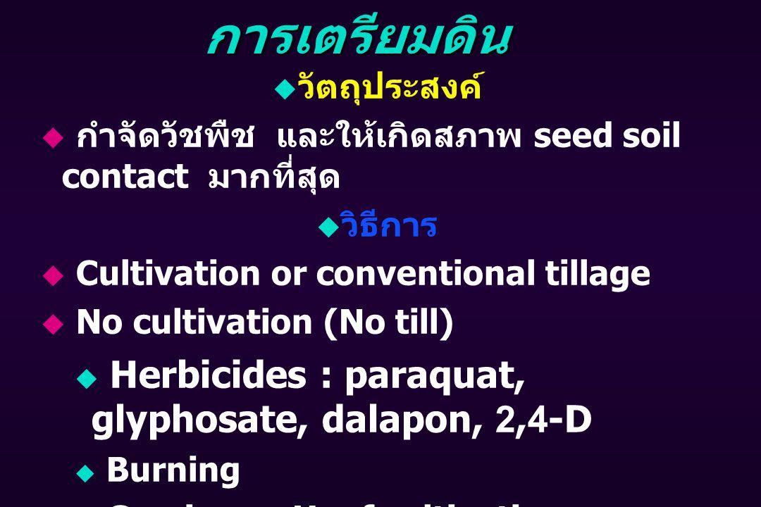 การเตรียมดิน Herbicides : paraquat, glyphosate, dalapon, 2,4-D