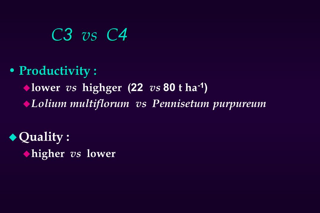 C3 vs C4 Productivity : Quality : lower vs highger (22 vs 80 t ha-1)