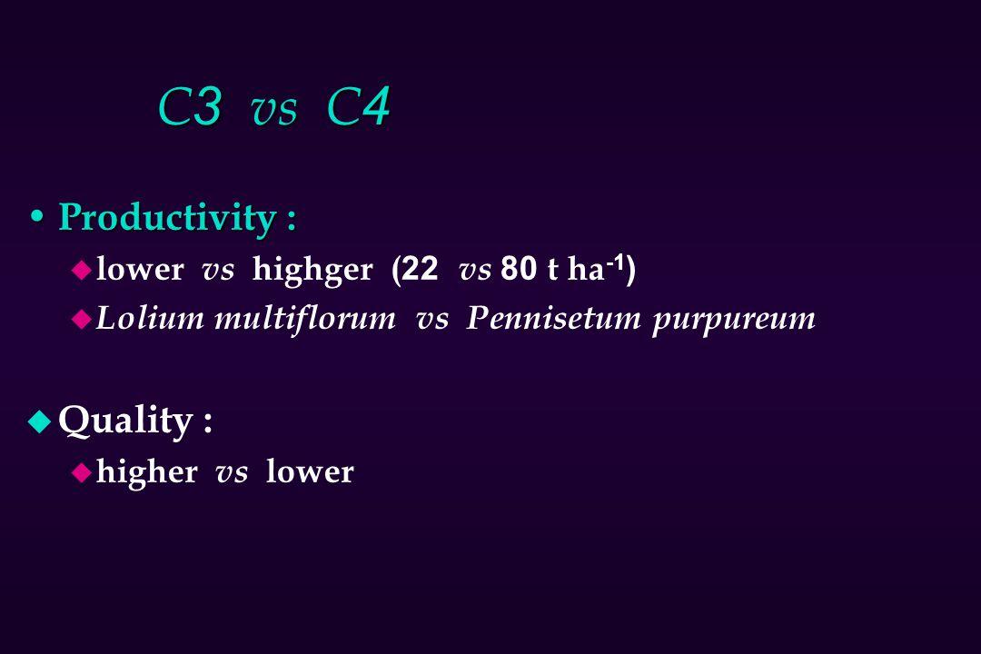 C3 vs C4 Productivity : Quality : lower vs highger (22 vs 80 t ha-1)