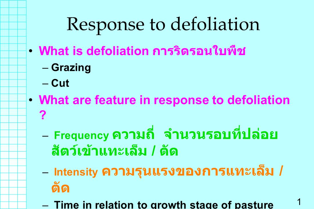 Response to defoliation