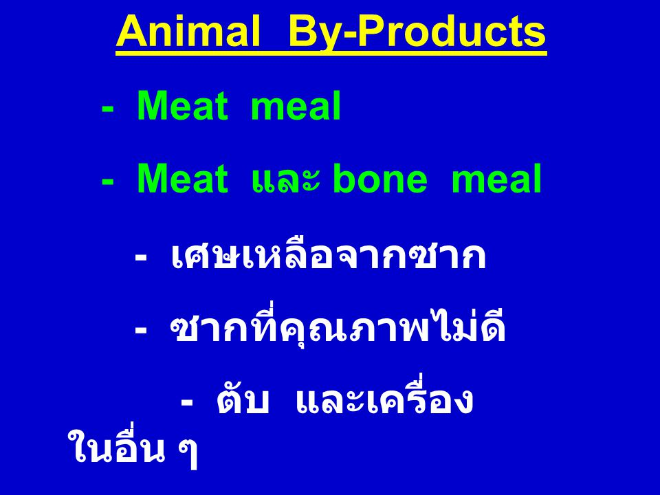 Animal By-Products - Meat meal - Meat และ bone meal - เศษเหลือจากซาก