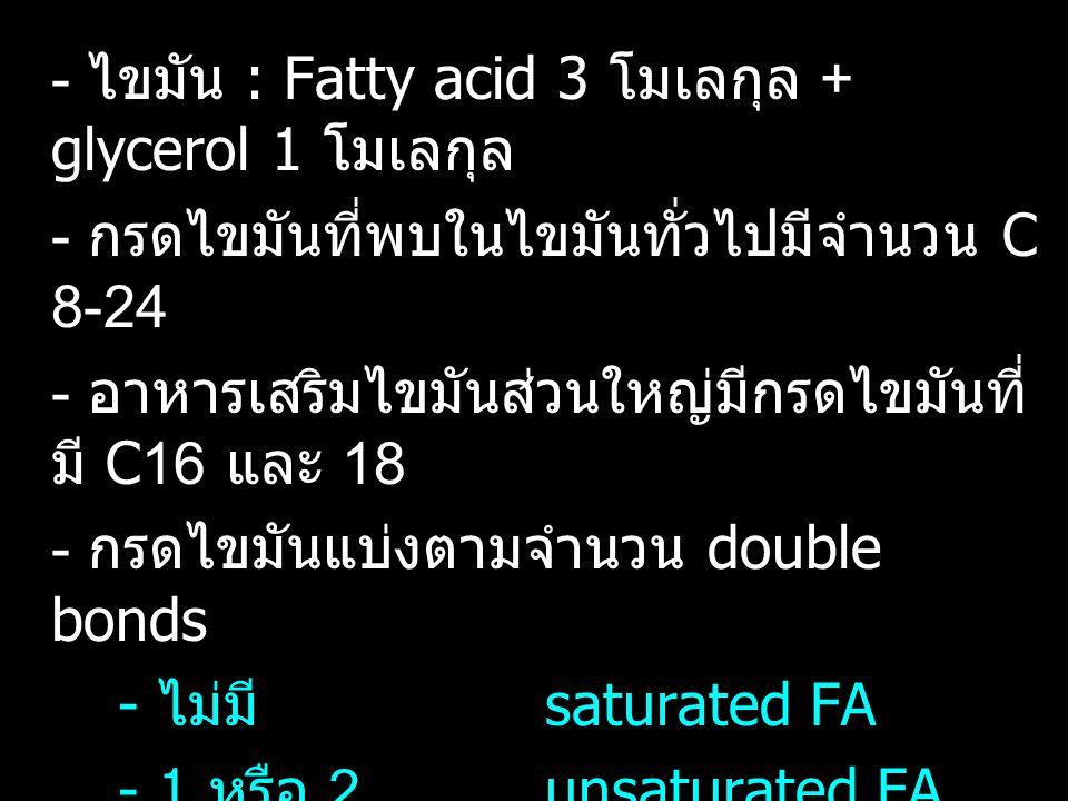 - ไขมัน : Fatty acid 3 โมเลกุล + glycerol 1 โมเลกุล