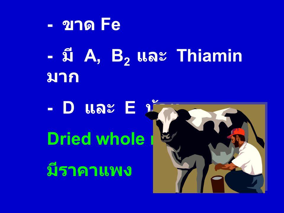 - ขาด Fe - มี A, B2 และ Thiamin มาก - D และ E น้อย Dried whole milk มีราคาแพง