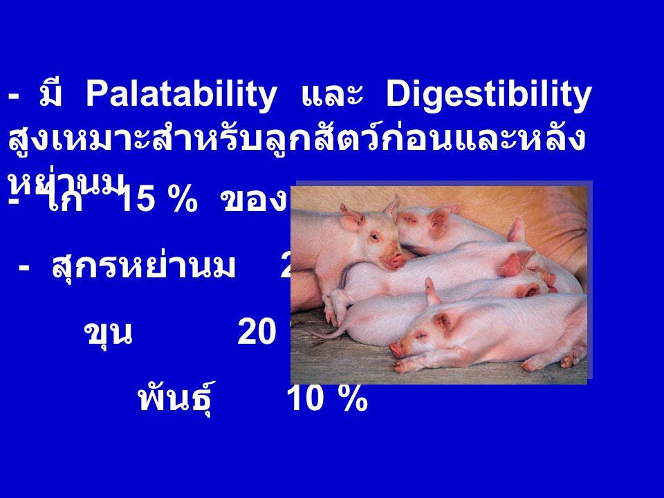 - มี Palatability และ Digestibility สูงเหมาะสำหรับลูกสัตว์ก่อนและหลังหย่านม