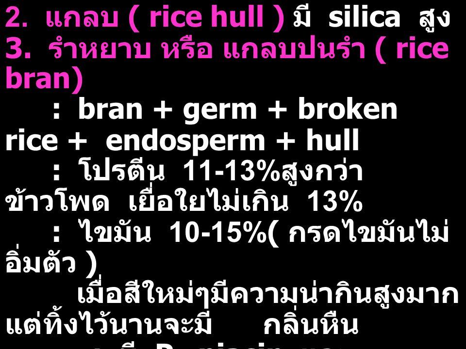 2. แกลบ ( rice hull ) มี silica สูง