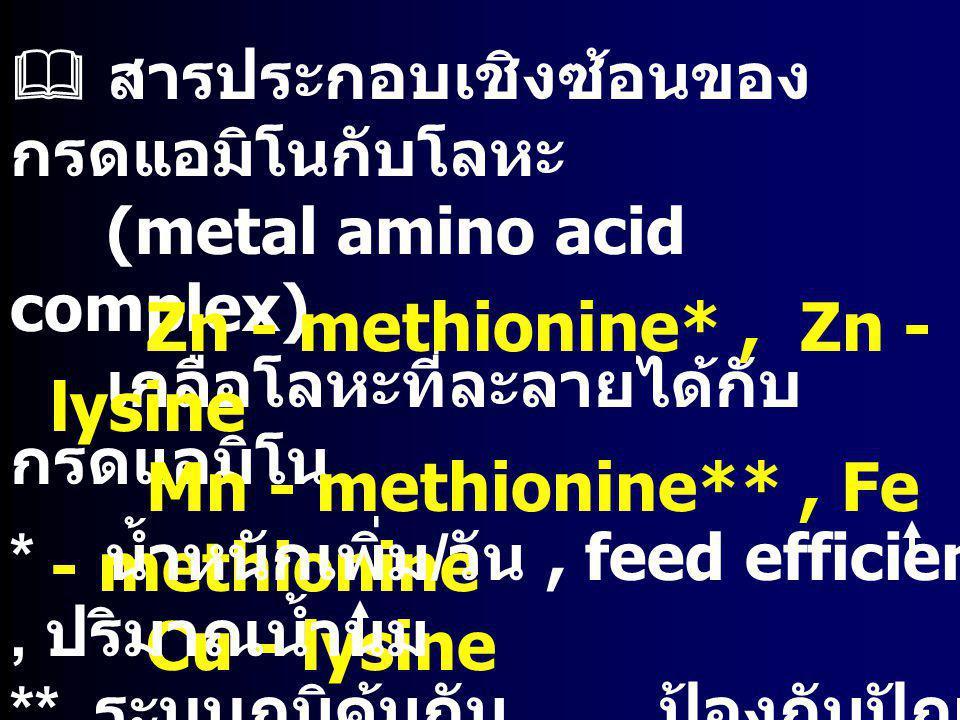 Zn - methionine* , Zn - lysine Mn - methionine** , Fe - methionine