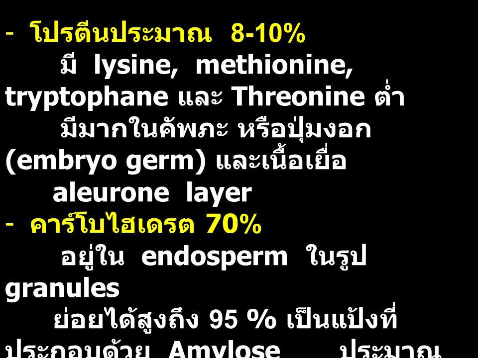 โปรตีนประมาณ 8-10% มี lysine, methionine, tryptophane และ Threonine ต่ำ. มีมากในคัพภะ หรือปุ่มงอก (embryo germ) และเนื้อเยื่อ.