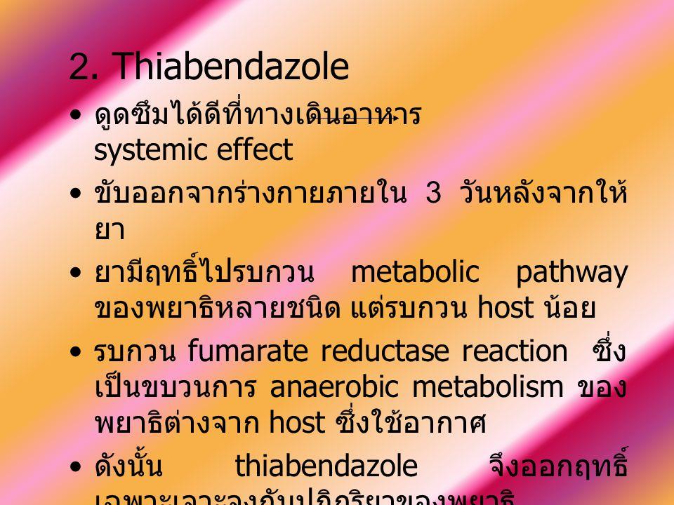 2. Thiabendazole ดูดซึมได้ดีที่ทางเดินอาหาร systemic effect