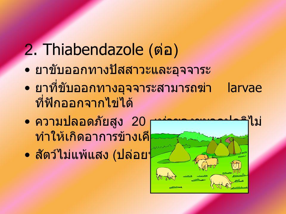 2. Thiabendazole (ต่อ) ยาขับออกทางปัสสาวะและอุจจาระ