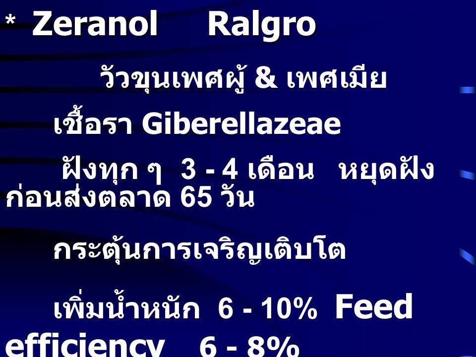 * Zeranol Ralgro วัวขุนเพศผู้ & เพศเมีย. เชื้อรา Giberellazeae. ฝังทุก ๆ 3 - 4 เดือน หยุดฝังก่อนส่งตลาด 65 วัน.