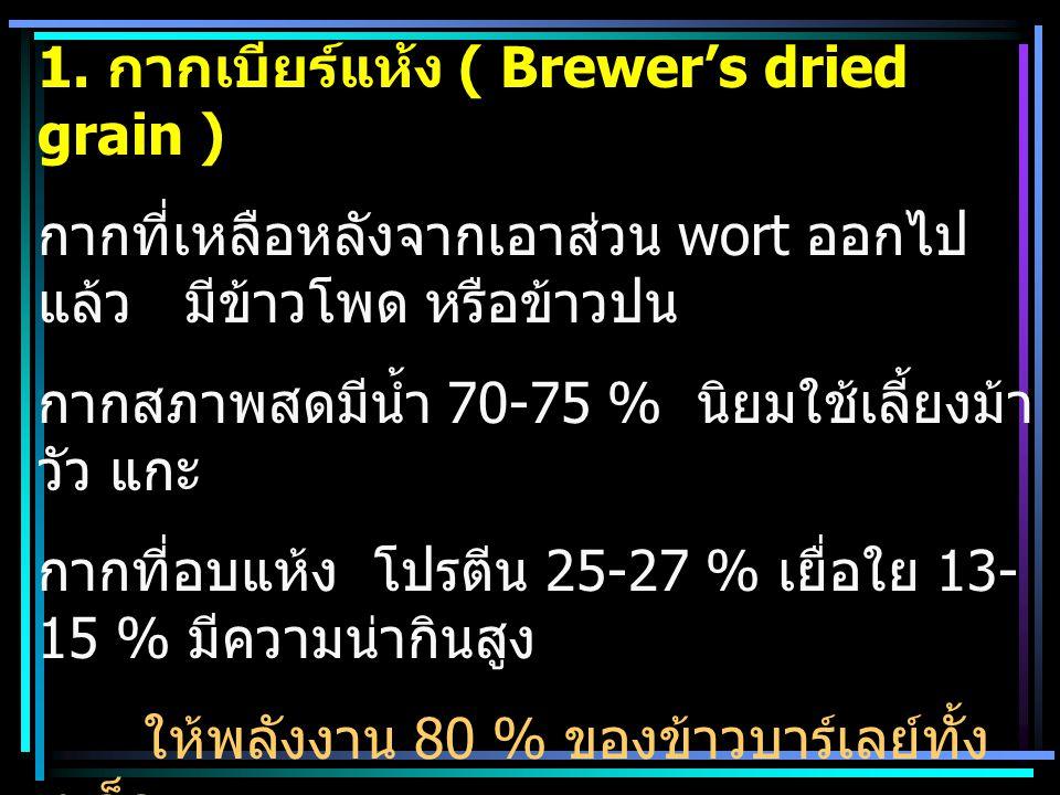 1. กากเบียร์แห้ง ( Brewer's dried grain )