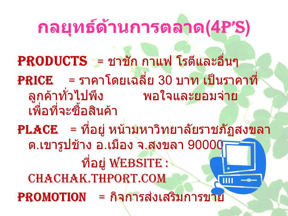 กลยุทธ์ด้านการตลาด(4P's)