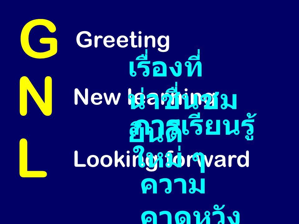 G N L เรื่องที่น่าชื่นชม ยินดี การเรียนรู้ใหม่ ๆ ความคาดหวัง Greeting