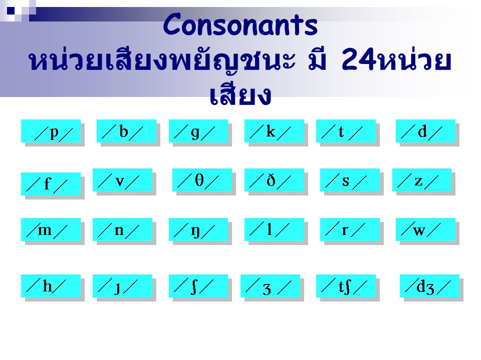 Consonants หน่วยเสียงพยัญชนะ มี 24หน่วยเสียง